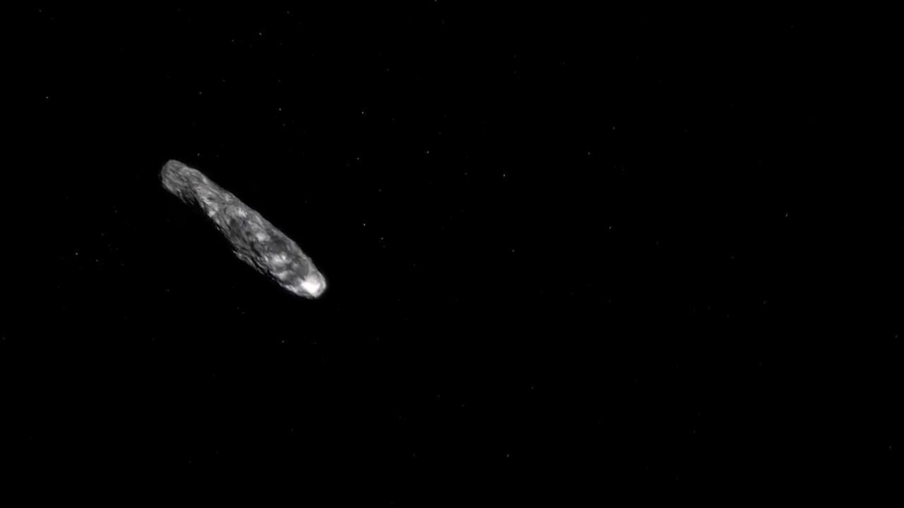 Animatie van planetoïde van buiten zonnestelsel