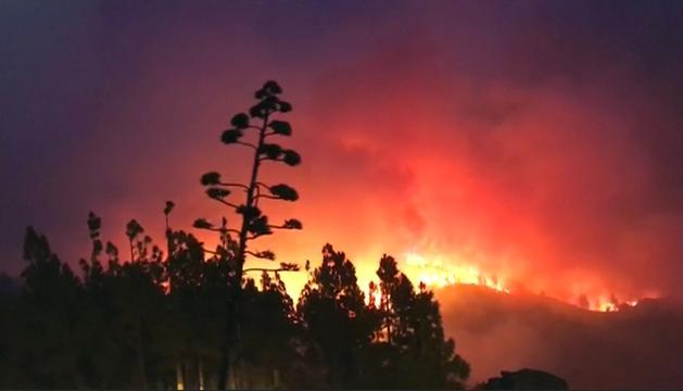 Grote rookwolken boven Gran Canaria door bosbrand
