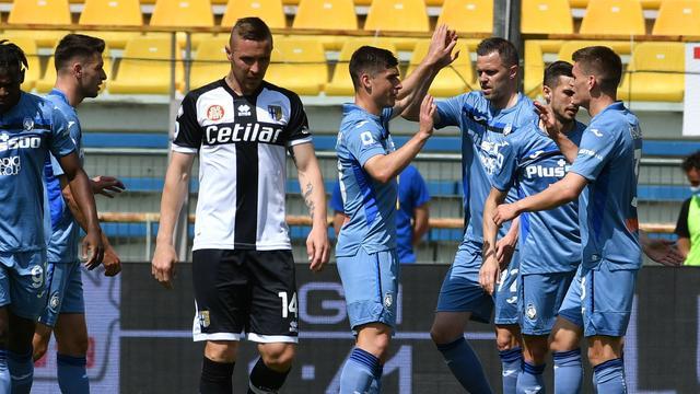 Vreugde bij Atalanta na een van de goals in Parma.