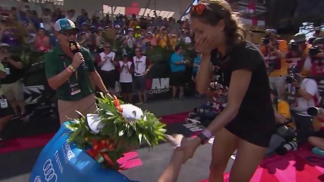 Triatleet vraagt na winnen WK vriendin ten huwelijk