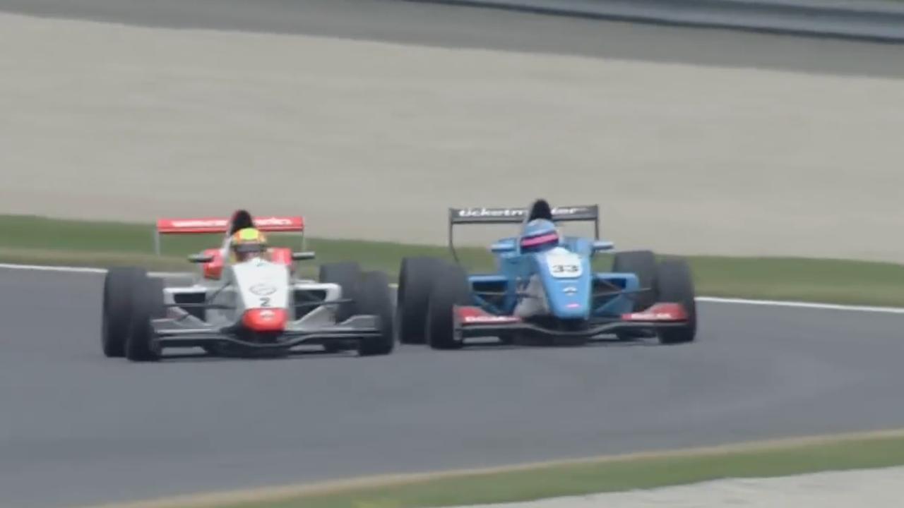 Het duel tussen Norris en Defourny op de Red Bull Ring in 2016