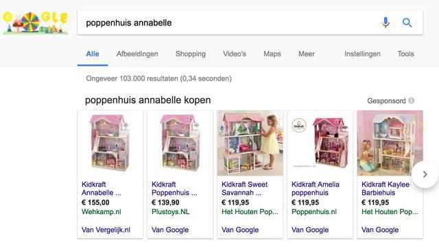 Resultaat Vergelijk.nl in Google Shopping
