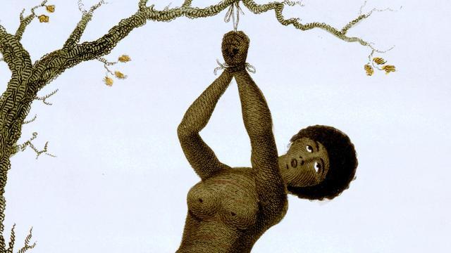 Een gestrafte tot slaaf gemaakte vrouw in Suriname.