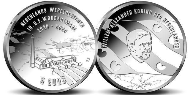 Koning Willem-Alexander voor het eerst met baard afgebeeld op een munt