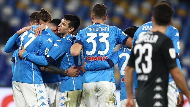 Napoli viert de winnende treffer van Andrea Petagna.