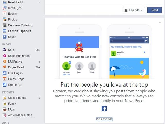 facebook gebruikers kunnen favoriete vrienden prioriteit geven hipmarketing online marketing. Black Bedroom Furniture Sets. Home Design Ideas