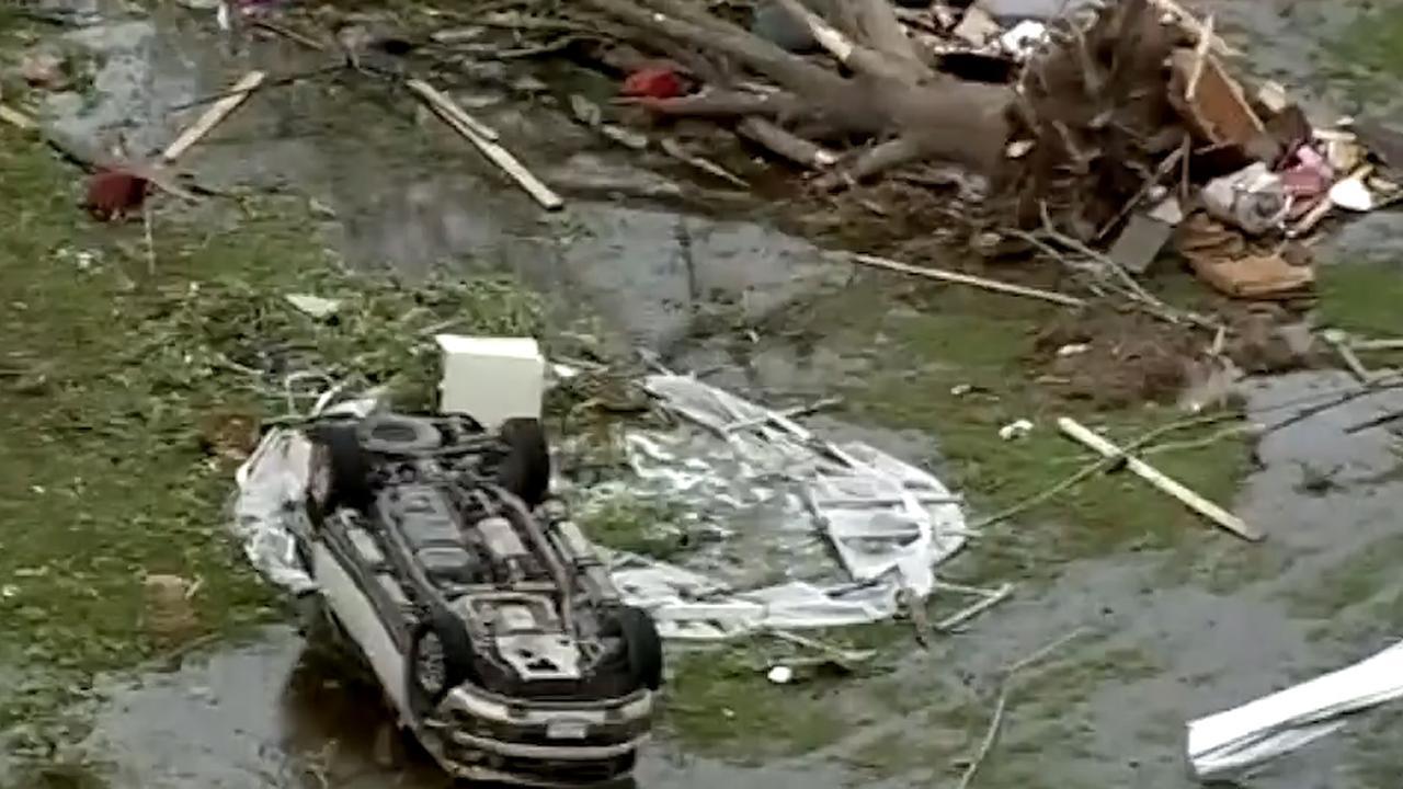 Dronebeelden tonen spoor van vernieling na tornado in Texas
