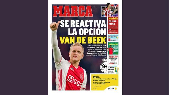 Van de Beek adorns the cover of the Spanish sports newspaper