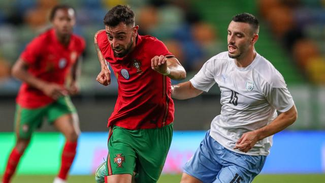 Bruno Fernandes scoorde twee keer in de laatste oefenwedstrijd van Portugal tegen Israël.