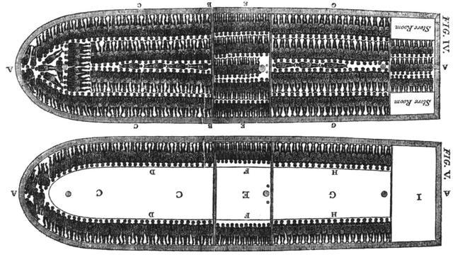 De indeling van een Brits slavenschip eind achttiende eeuw.