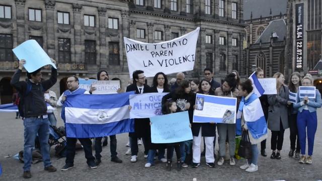 Manifestatie op de Dam tegen geweld Nicaragua