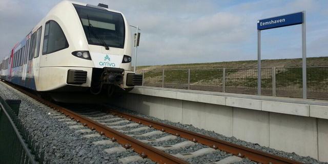 Eerste passagierstrein gearriveerd op station Eemshaven