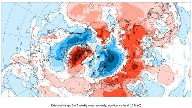 Het weermodel van het KNMI en andere Europese klimaatinstituten toont in blauw waar het de komende week kouder is dan normaal. De koudste lucht is voor Scandinavië en West-Rusland, maar Nederland pikt een paar graden vorst mee.