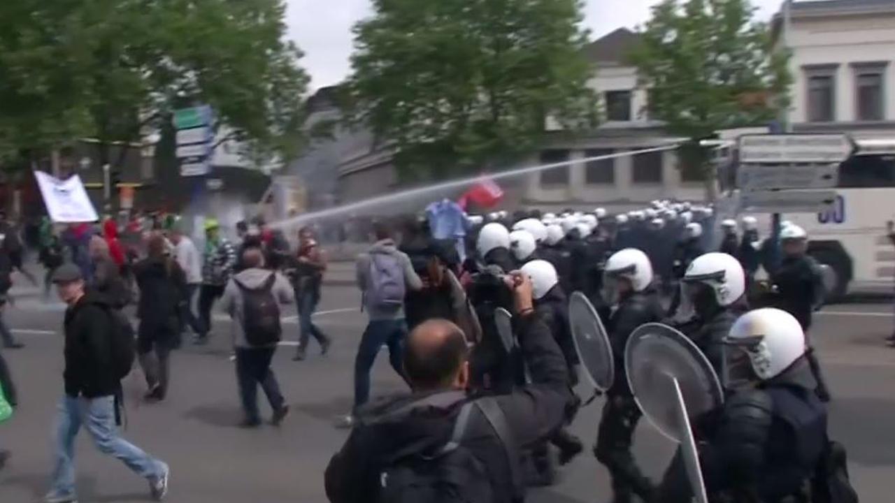 Grote betoging in Brussel eindigt met opstootjes