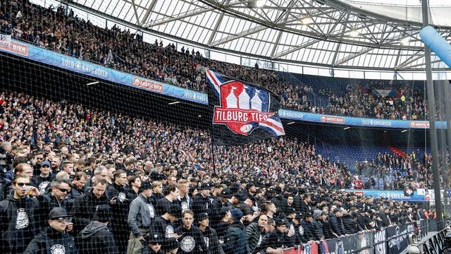 Fans van Willem II bij de laatste bekerfinale, tussen Ajax en Willem II in 2019.
