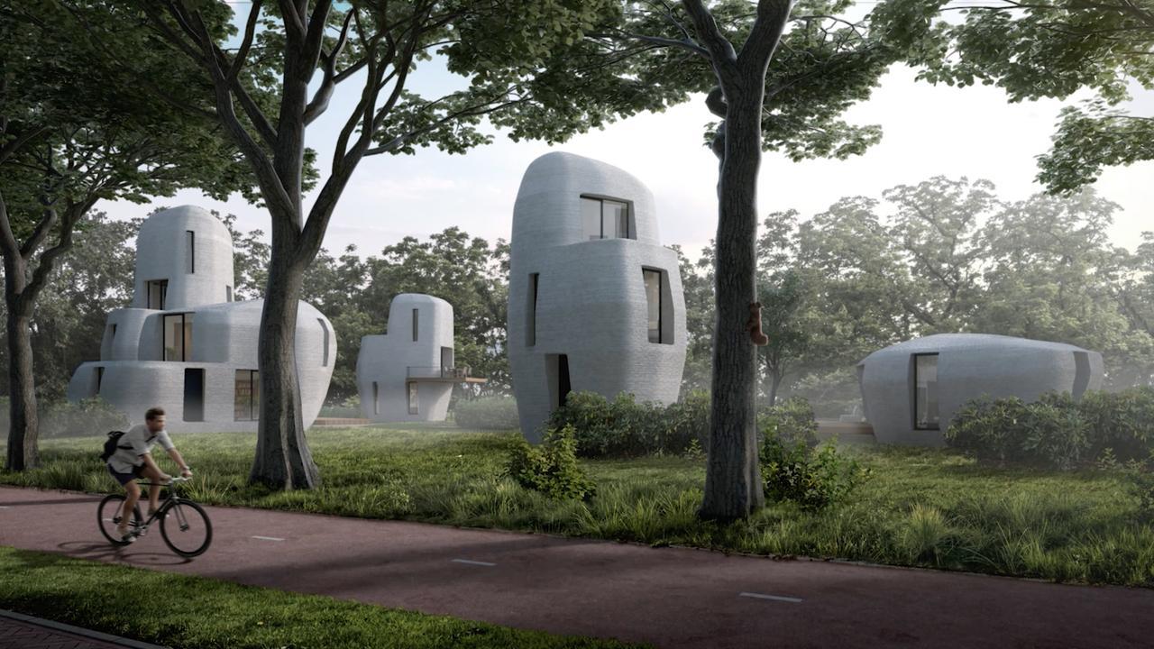 Geprinte woningen met aparte vormen: Dit is project Milestone
