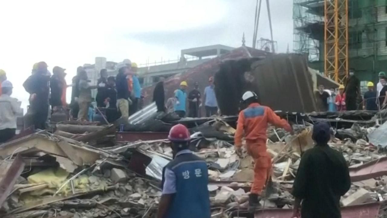 Cambodjanen zoeken slachtoffers na instorten gebouw