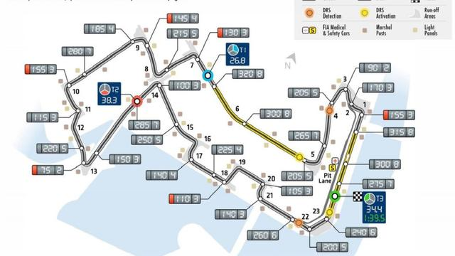 Plattegrond Marina Bay Street Circuit