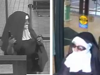 Beide vrouwen droegen een habijt, eentje had ook een zonnebril op