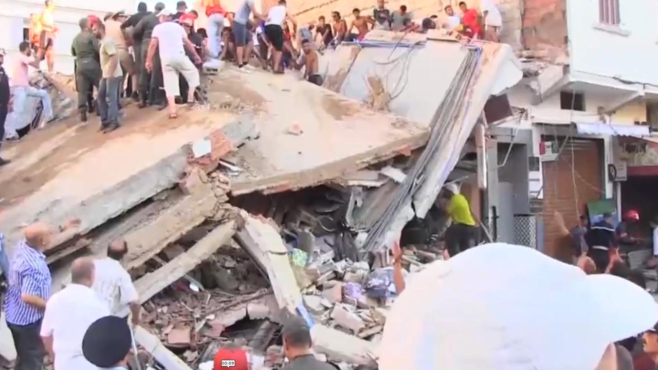 Chaos in Marokko na instorten gebouw