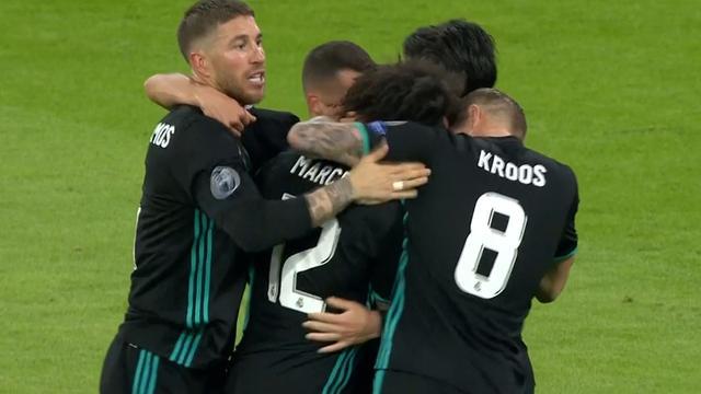 Marcelo schiet van afstand 1-1 binnen voor Real Madrid