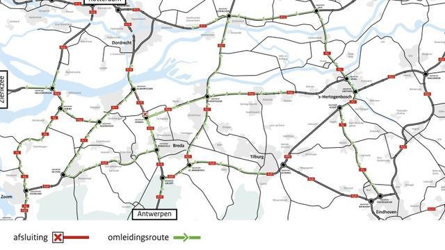 Rijkswaterstaat voert eind mei opnieuw onderhoud uit aan asfalt A16