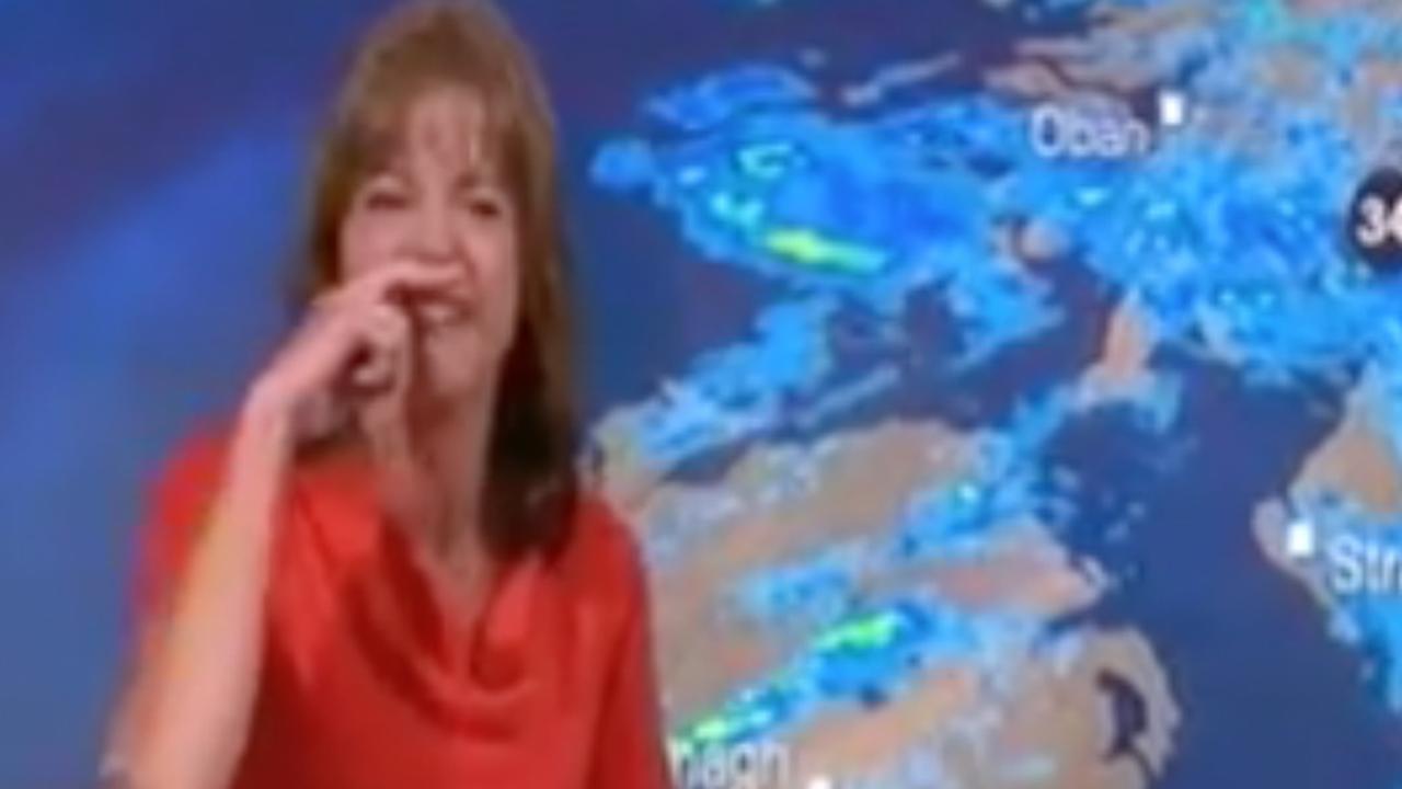 Weervrouw BBC heeft de slappe lach tijdens uitzending
