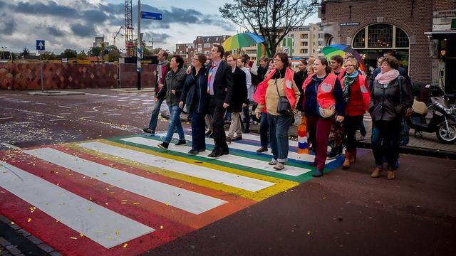 Vijf aanhoudingen voor vernielen regenboogzebrapad Leiden