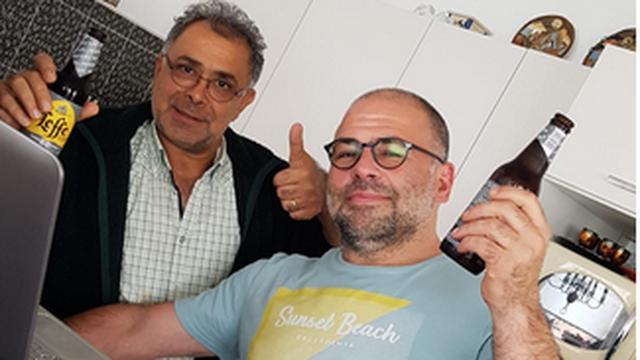 Marcel Mulder (rechts) samen met Saleh Rozbeh.