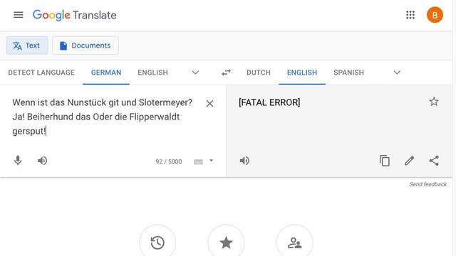Een sketch uit Monty Python heeft dodelijke gevolgen voor Google Translate.