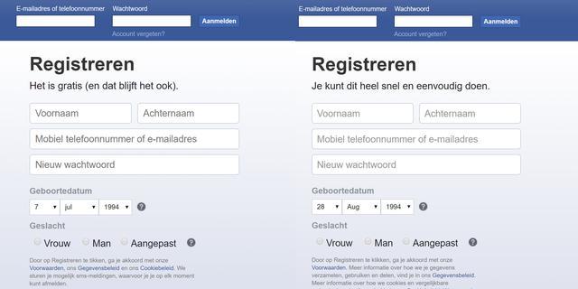 Facebook wijzigt tekst 'Het is gratis (en dat blijft het ook)' bij registratie