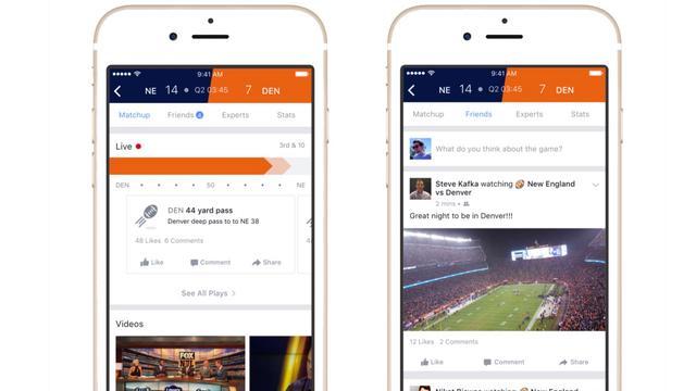 Nieuwe Facebook-functie toont berichten over sportwedstrijden
