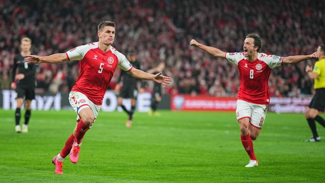 Joakim Maehle zorgde aan het begin van de tweede helft voor het enige doelpunt tegen Oostenrijk.