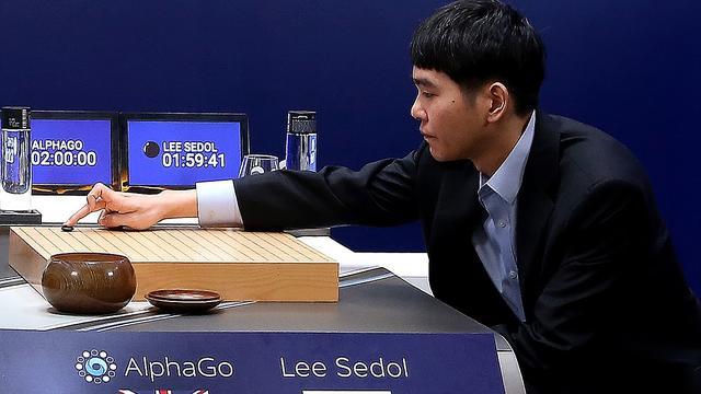 Run op Aziatisch bordspel Go na winst Google-computer