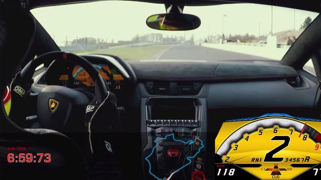 Lamborghini Aventador SV zeer snel op Nordschleife