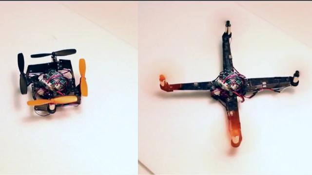 Drone op zakformaat kan zichzelf uitklappen