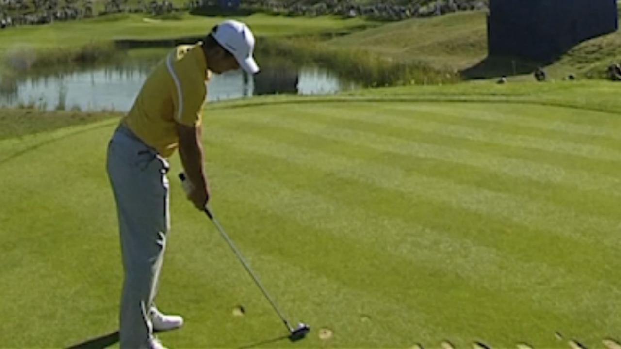 Golfer mist hole-in-one op een haar bij training Ryder Cup