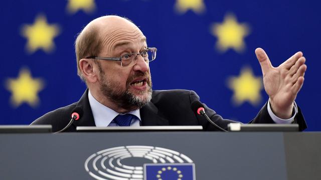 Voorzitter Martin Schulz van het Europees Parlement verlaat Brussel