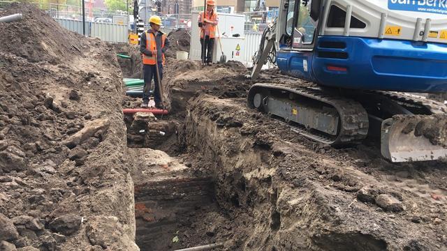 Eindhovense kasteelmuur gevonden bij graafwerkzaamheden in centrum