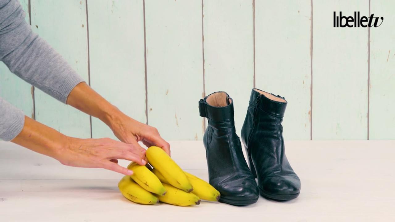Geen schoenenpoets binnen handbereik? Gebruik deze bananen