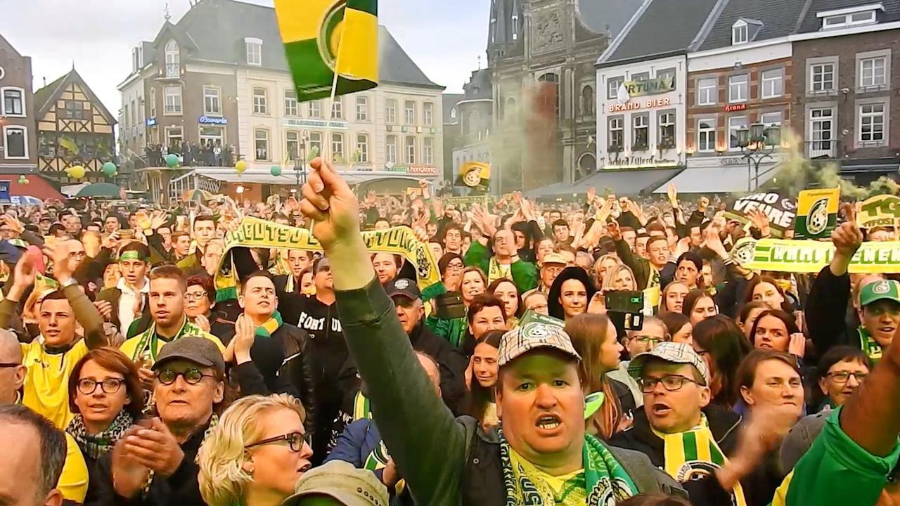 Duizenden fans Fortuna Sittard vieren promotie naar Eredivisie