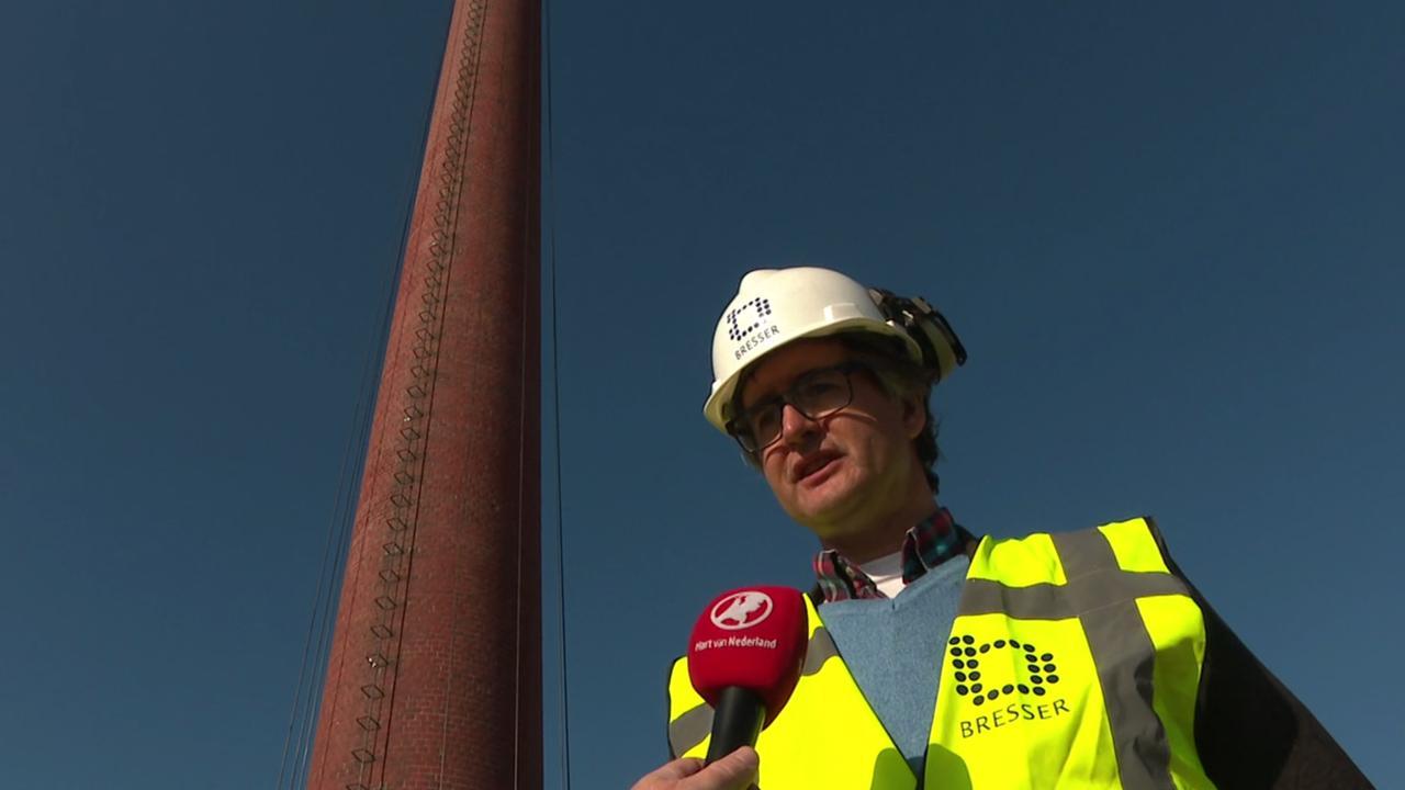Schoorsteen van 44 meter hoog wordt verplaatst in Roosendaal