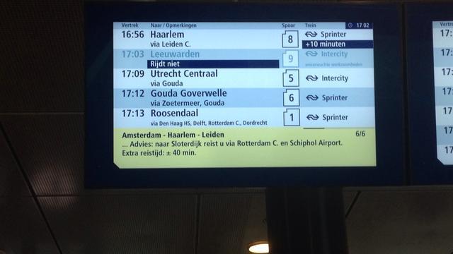 Hele avond geen treinen tussen Leiden en Schiphol vanwege defect spoor