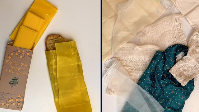 Links: Brood verpakt in bijenwaspapier. Rechts: Mijn voorraad boodschappentassen.