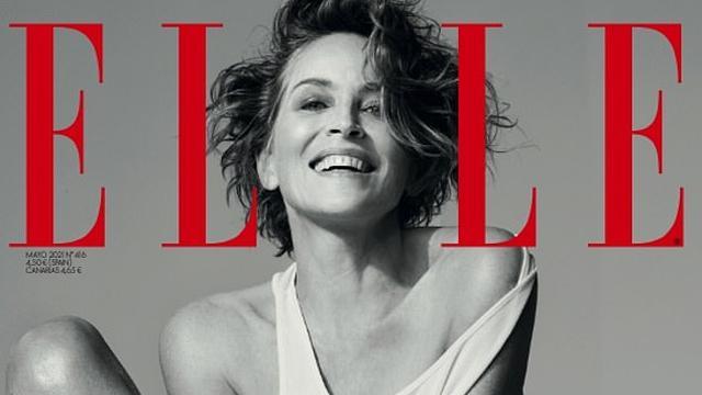 Sharon Stone op de cover van Elle.