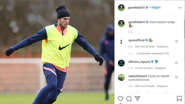 Het Instagram-bericht waarmee Gareth Bale verwarring zaaide.
