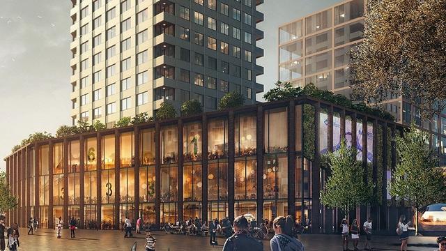 La Place met groene daktuin bovenop De Geus