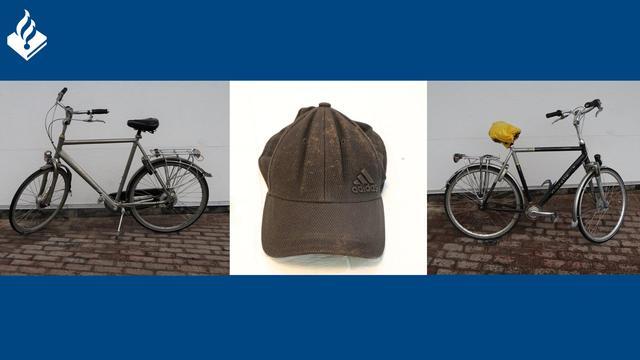 De door de politie vrijgegeven foto's van de fietsen en de pet.