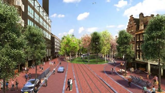 Zuidelijke deel van de Nieuwezijds Voorburgwal wordt autoluw