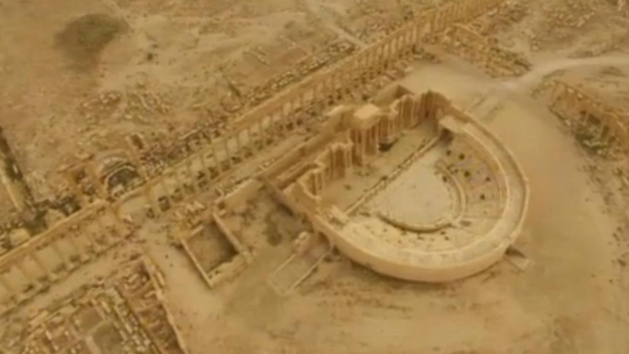 Palmyra gefilmd vanuit de lucht na herovering Syrische leger